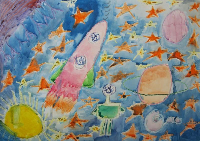Кошки и собаки в космосе | Логинова Катя, 8 лет, Русско ...